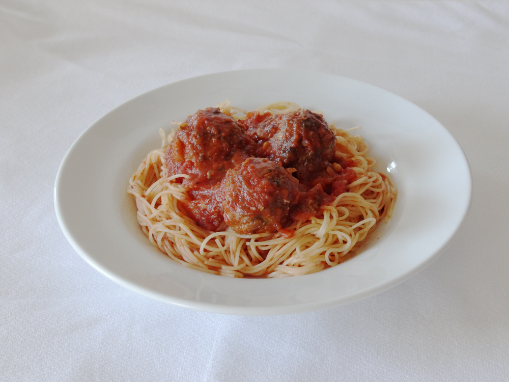 Baked Meatballs and Spaghetti
