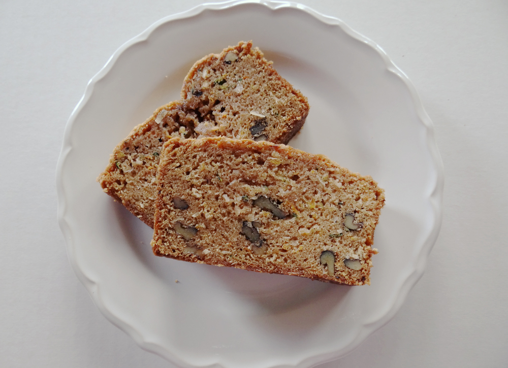 ... yummy slice of Carrot Zucchini Coconut Bread. Ahhhhh…..Life is good