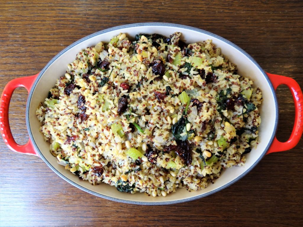 Herbed Quinoa Red Rice Stuffing