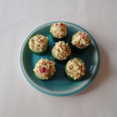 Curry Chicken Salad in Cucumber Cups