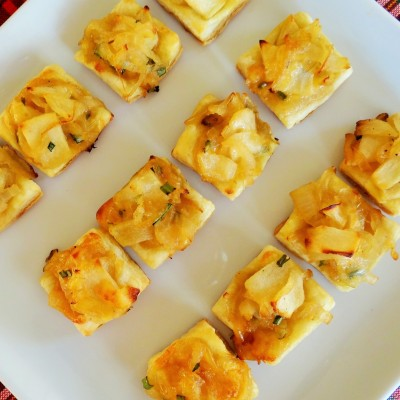 Caramelized Onion and Apple Tarts with Smoked Gouda